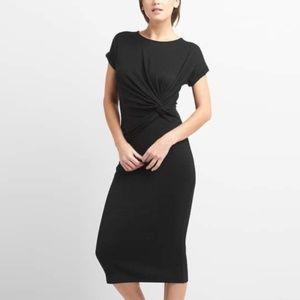 GAP Twist-Knot Crewneck Midi Dress in Black